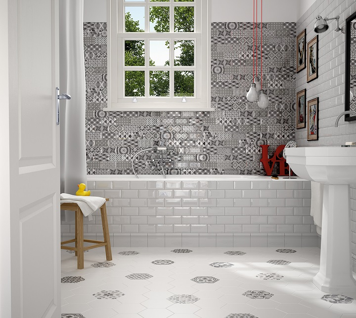 metro patchwork black and white 3x6 beveled wall tiles. Black Bedroom Furniture Sets. Home Design Ideas