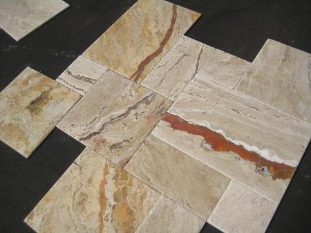 Lugano Onyx Travertine Chiseled Edge Versailles Pattern Tile