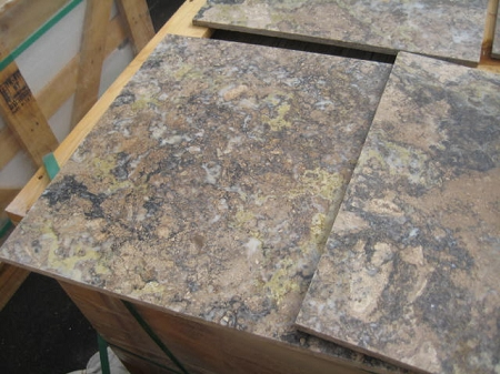 Golden Green Polished 18x18 Filled Travertine