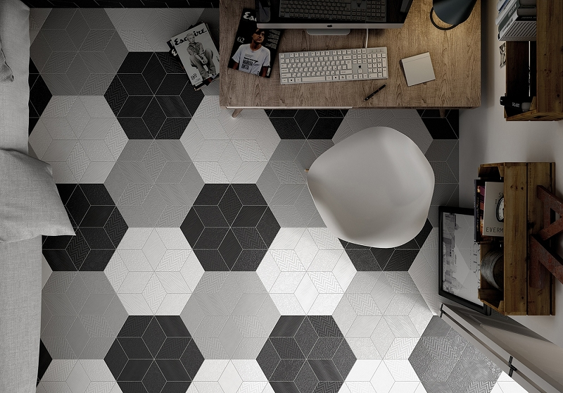 Porcelain wall tile 6 x10 rhombus dark grey for Carrelage losange