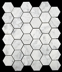 Marble Mosaic | Carrara White Marble | 2x2 Hexagon | Honed