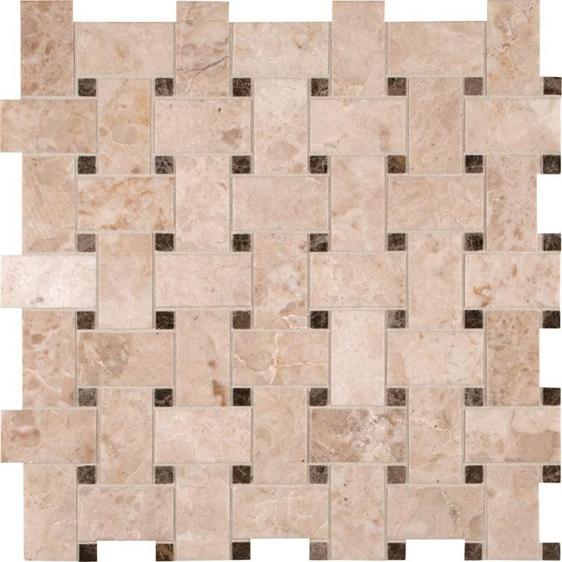 Home gt Kitchen amp Bath Stone Mosaic Crema Cappuccino Basketweave