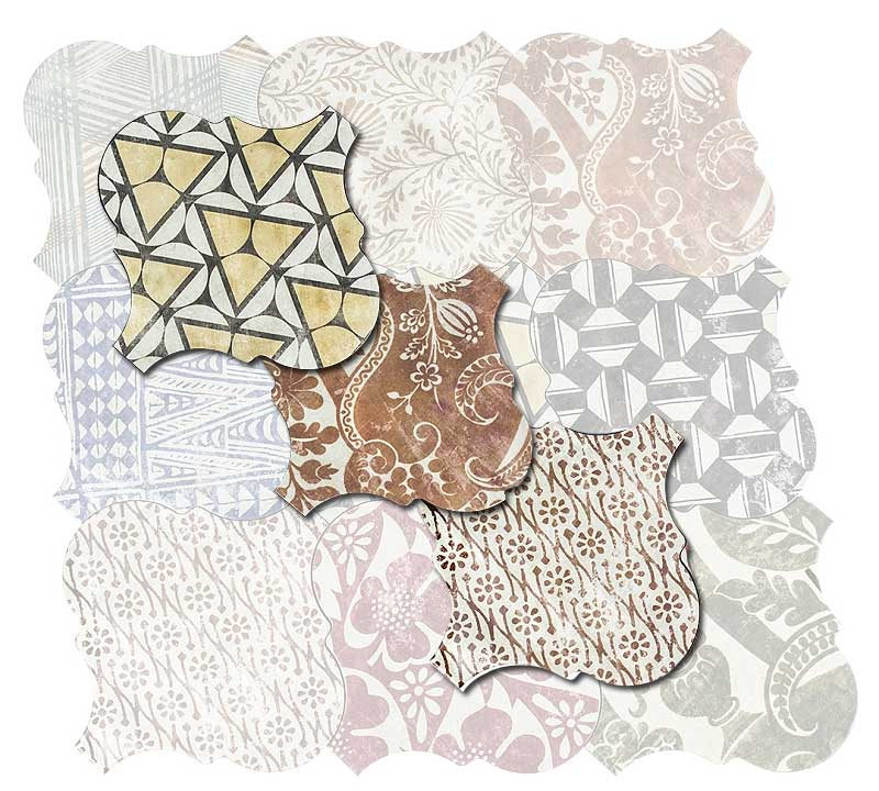 """25 Creative Patchwork Tile Ideas Full Of Color And Pattern: Porcelain Tile 10""""x10"""" Curvytile Cotto Patchwork"""
