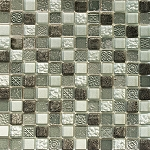 Glass & Stone Mosaic | Mayan Pewter