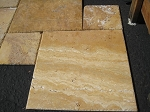Sienna Gold Travertine | Chiseled Edge | Unfilled | Versailles Pattern | Brushed