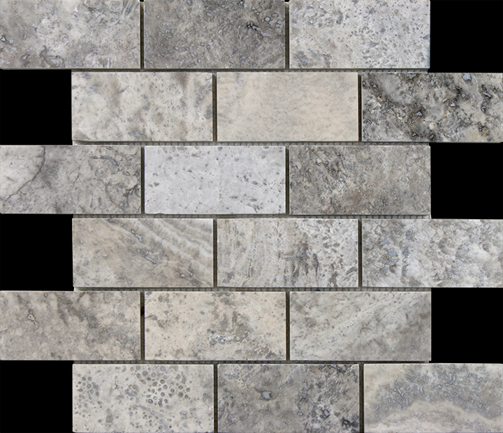 Silver high honed 2x4 travertine mosaic