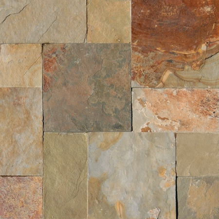 Earth slate versailles pattern gauged for Slate floor patterns
