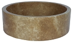 "Travertine Round  Straight Noce 18"" Sink"