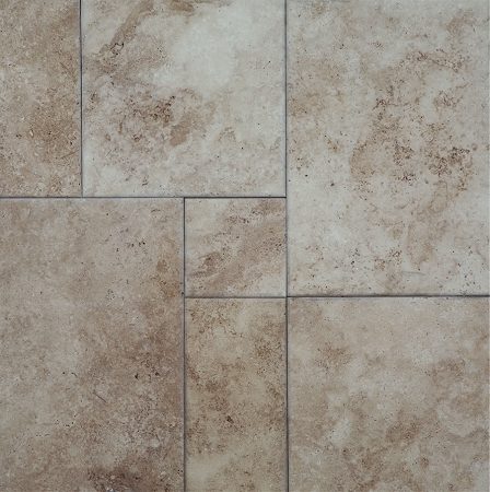 Walnut pillowed edge travertine tile brushed versailles pattern quick view ppazfo