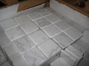 Bianco Venato 4x4 Tumbled Marble