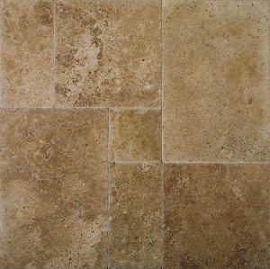 Noce Brushed Travertine Tile Select Chiseled Versailles