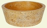"Travertine Round Layer Golden Sienna16"" sink"