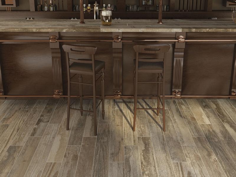 Salvage Series Brown Wood Look Porcelain Tile 6x40