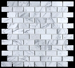 Carrara White Polished Mosaic | 1x2