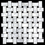 Carrara White | Absolute Black Basket Weave Mosaic | 1x2 | Polished