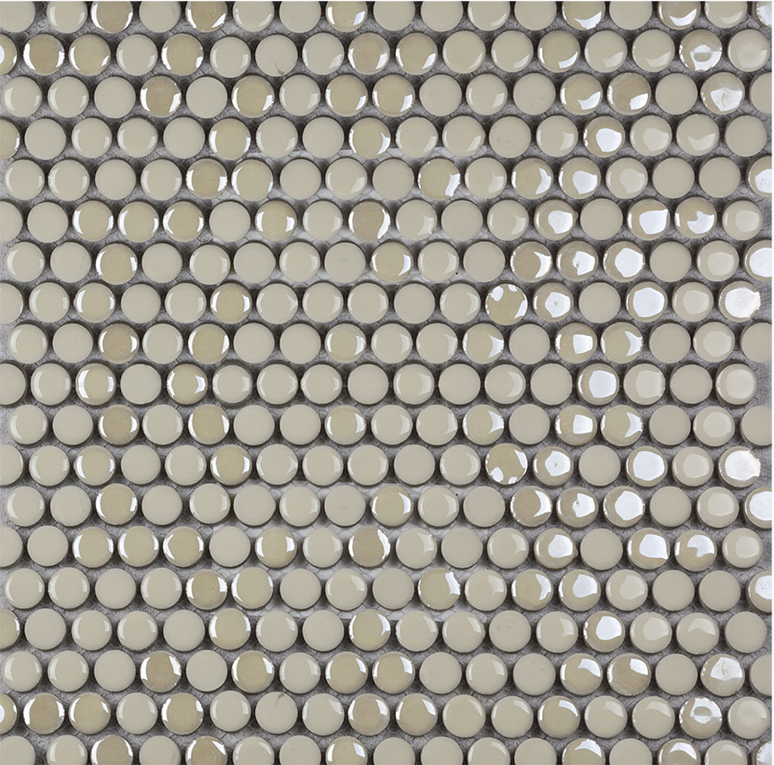 Confetti Penny Round Cream 12x12 Porcelain Mosaic