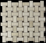 Crema Marfil | Emperador dark Basket Weave | 1in. x 2in.| Polished