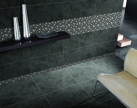 Glass Mosaic | Black, White and Grey