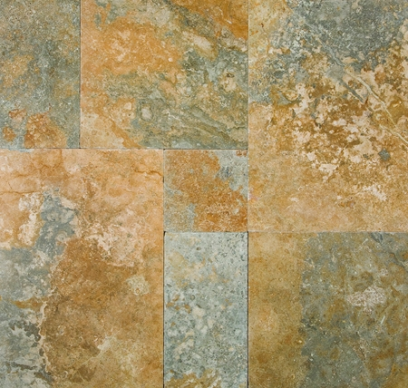 Golden Green Travertine | Versailles Pattern | Tumbled