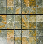 Gold Green Stone Mosaic | Polished | 2x2