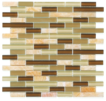 Glass & Stone Mosaic | Gold Olive Bamboo | GS4001