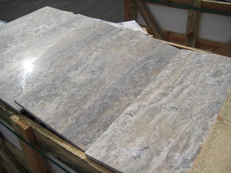 Vein Cut Silver High Honed 12x24 Travertine Tile