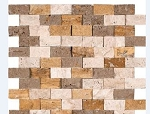 Mixed Travertine Backsplash | Splitface | 1x2
