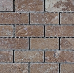 Noce Travertine Mosaic | 2x4 | Tumbled