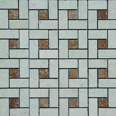 Pin Wheel Beige Noce Stone Mosaic | Tumbled