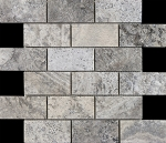 Silver Travertine Mesh Back Mosaic | 2x4 |  High Honed