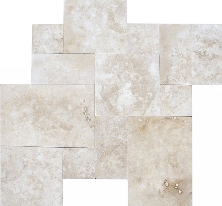 Straight Edge Tuscany Beige Travertine Versailles Pattern Tile