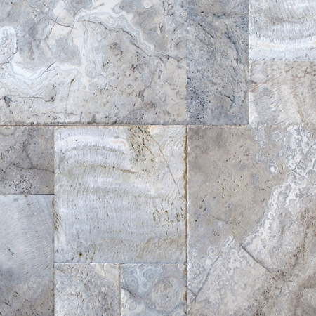 Silver Travertine | Chiseled Edge | Versailles Pattern | Brushed