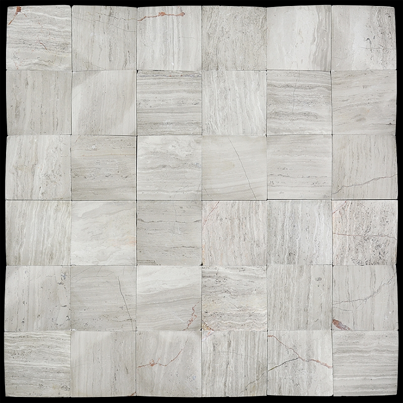 3D Polished Wood Grey 2x2 Beveled Marble Mosaic