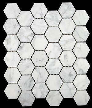 Carrara White Marble | 2x2 Hexagon | HONED