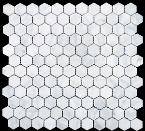 Marble Mosaic|  Cararra White | Hexagon |1x1| POLISHED