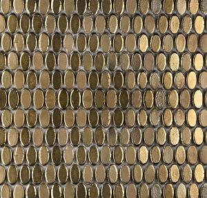 Confetti Bronze Oval Porcelain Mosaic Backsplash 12x12