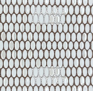 Confetti White Oval Porcelain Mosaic Backsplash 12x12