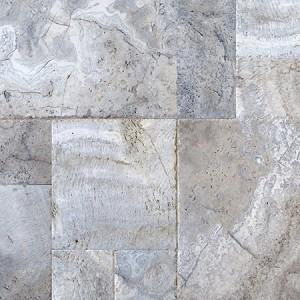 Versailles Pattern Travertine Silver Chiseled Edge
